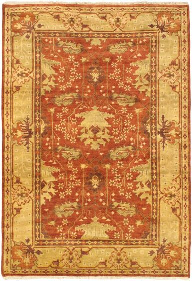 Traditional Orange Area rug 5x8 Indian Hand-knotted 43925