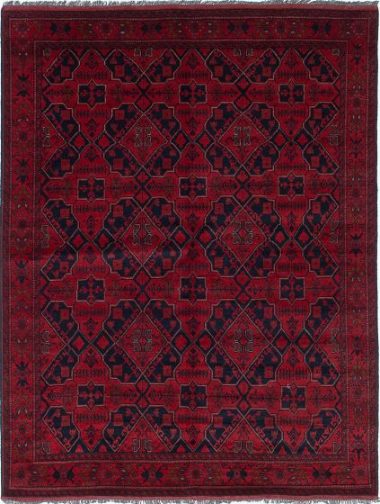 Traditional Red Area rug 5x8 Afghan Hand-knotted 222315