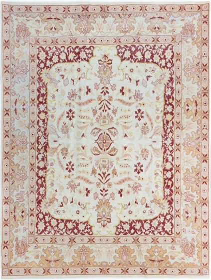 Bordered  Traditional Ivory Area rug 8x10 Turkish Hand-knotted 280812
