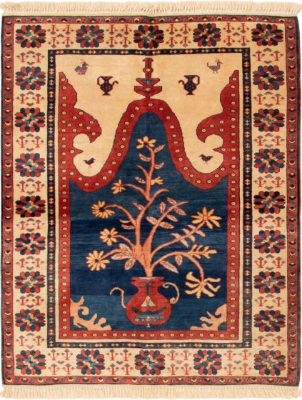 Bordered  Traditional Blue Area rug 4x6 Turkish Hand-knotted 293456