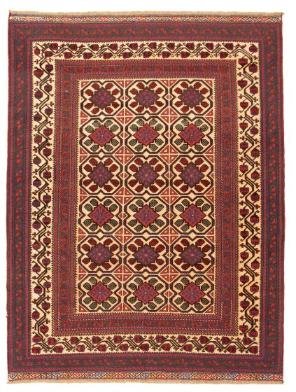 Bordered  Tribal Red Area rug 6x9 Afghan Hand-knotted 311606