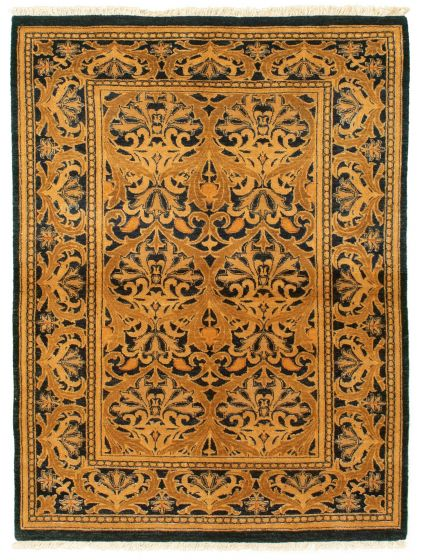 Bordered  Transitional Blue Area rug 3x5 Pakistani Hand-knotted 331285