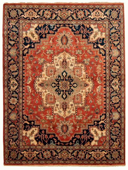 Bordered  Traditional Brown Area rug 9x12 Indian Hand-knotted 331911