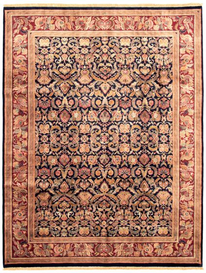 Bordered  Traditional Blue Area rug 9x12 Indian Hand-knotted 335494