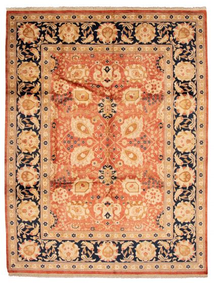 Bordered  Traditional Red Area rug 9x12 Pakistani Hand-knotted 337540