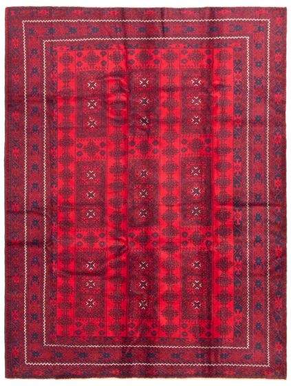 Bordered  Tribal Red Area rug 6x9 Afghan Hand-knotted 342503