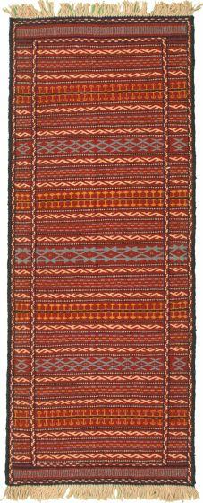 Bordered  Stripes Red Runner rug 6-ft-runner Turkish Flat-weave 334979