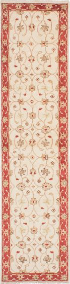 Traditional Ivory Runner rug 10-ft-runner Indian Hand-knotted 223877