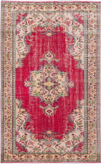 Traditional Red Area rug 5x8 Turkish Hand-knotted 182789