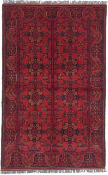 GeometricTribal Red Area rug 3x5 Afghan Hand-knotted 204866