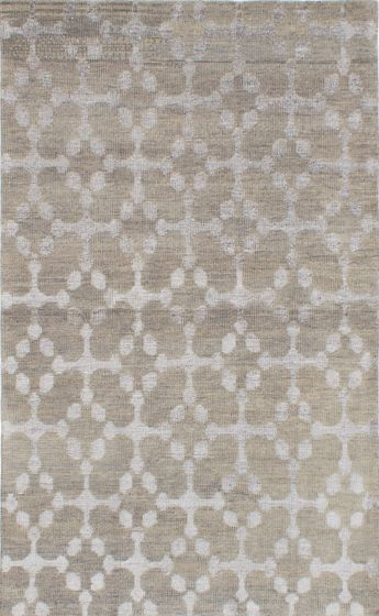 Transitional Green Area rug 5x8 Indian Hand-knotted 221900