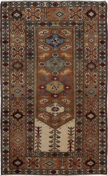 Bordered  Traditional Brown Area rug 4x6 Turkish Hand-knotted 273199
