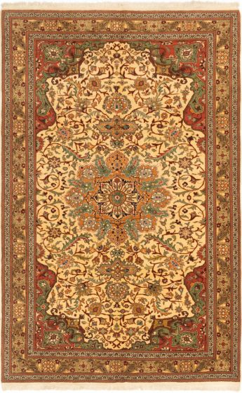 Bordered  Traditional Ivory Area rug 6x9 Turkish Hand-knotted 280909