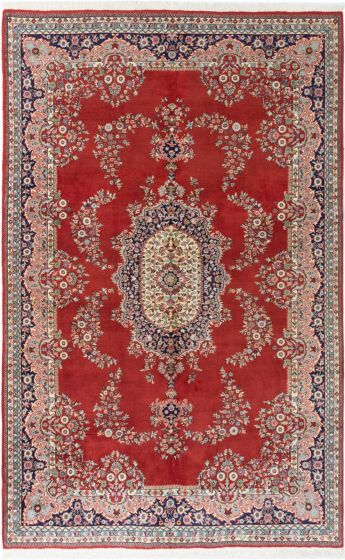 Bordered  Traditional Red Area rug Unique Turkish Hand-knotted 281061