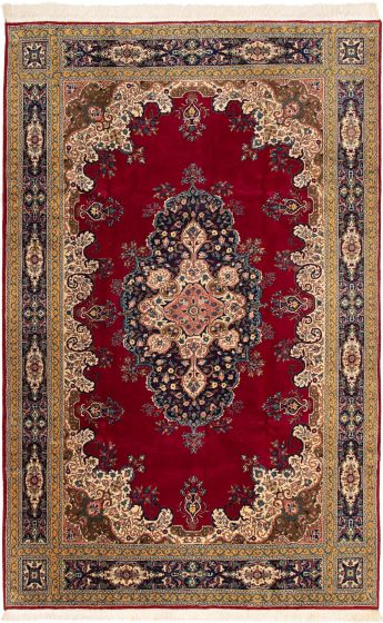 Bordered  Traditional Red Area rug 6x9 Turkish Hand-knotted 293260
