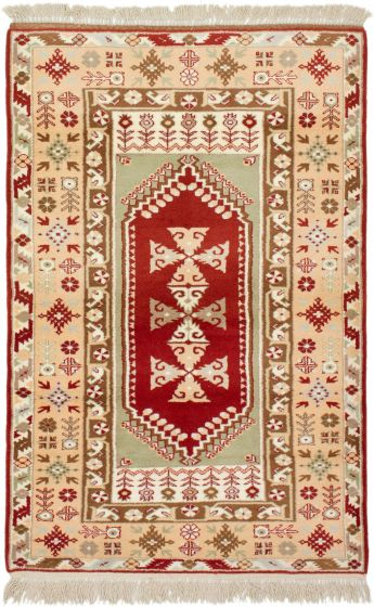Bordered  Traditional Brown Area rug 3x5 Turkish Hand-knotted 293849