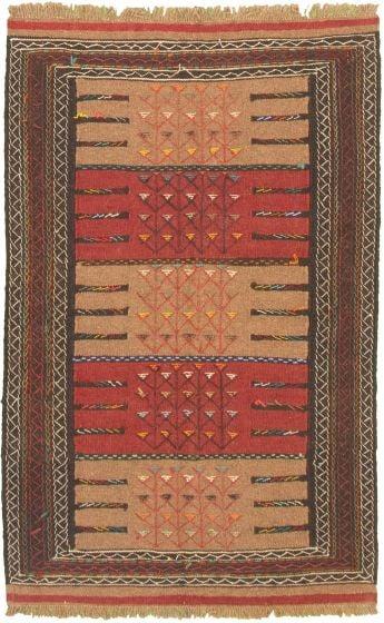 Bordered  Tribal Brown Area rug 3x5 Turkish Flat-weave 334961