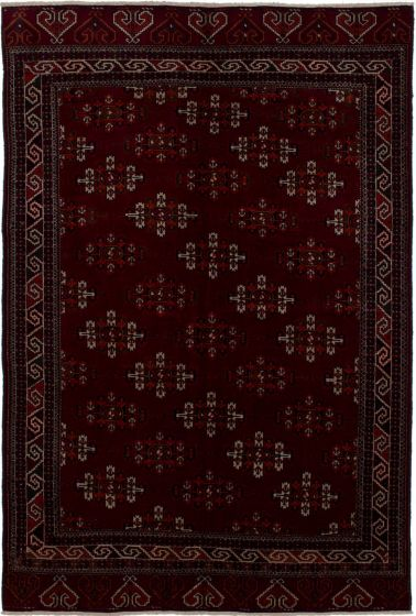 Bordered  Traditional Red Area rug 5x8 Russia Hand-knotted 273619