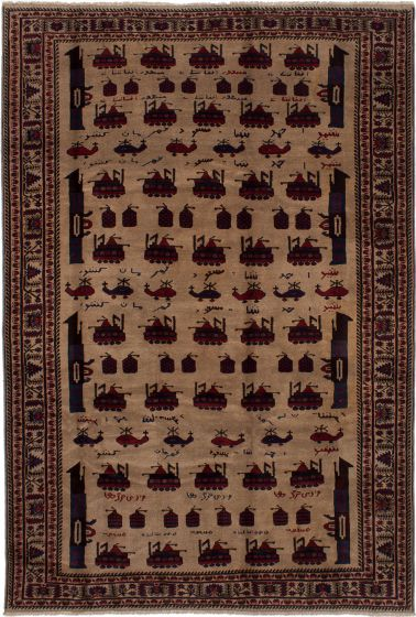 Bordered  Tribal Brown Area rug 6x9 Afghan Hand-knotted 278370