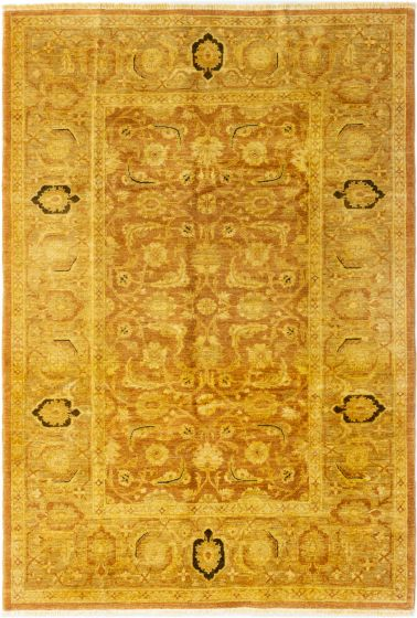 Bordered  Traditional Brown Area rug 5x8 Afghan Hand-knotted 280358