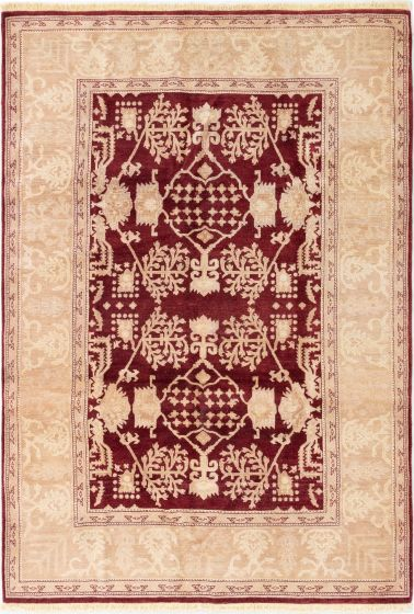 Bordered  Traditional Red Area rug 5x8 Afghan Hand-knotted 280588