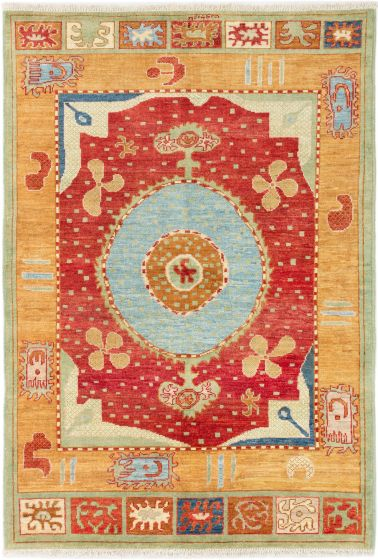 Bordered  Traditional Red Area rug 5x8 Indian Hand-knotted 280623