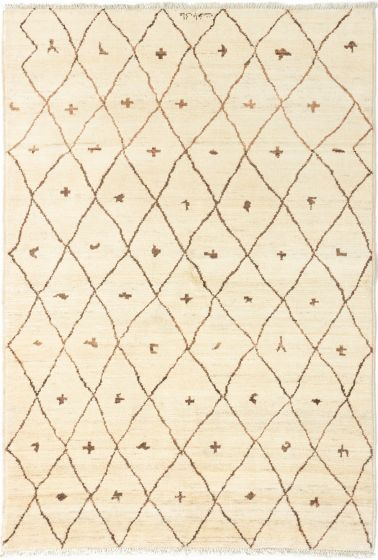 Casual  Transitional Ivory Area rug 5x8 Indian Hand-knotted 280656