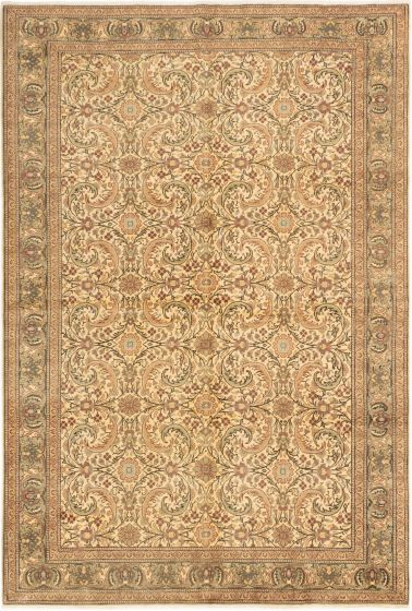 Bordered  Transitional Ivory Area rug 6x9 Turkish Hand-knotted 280927