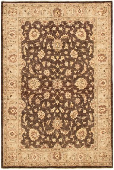Bordered  Traditional Brown Area rug 5x8 Pakistani Hand-knotted 292883