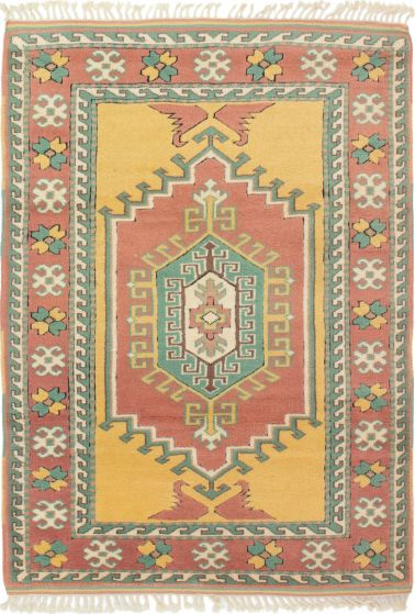 Bordered  Traditional Pink Area rug 3x5 Turkish Hand-knotted 293769