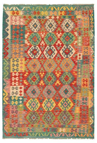 Bordered  Geometric Red Area rug 6x9 Turkish Flat-weave 316280
