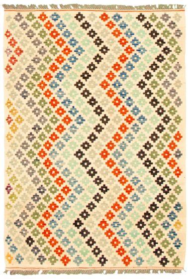 Flat-weaves & Kilims  Geometric Ivory Area rug 3x5 Turkish Flat-weave 330187