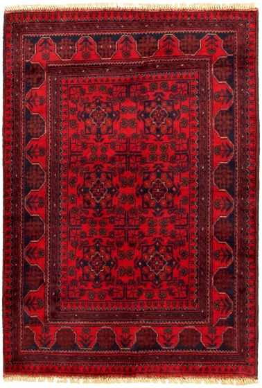 Bordered  Tribal Red Area rug 3x5 Afghan Hand-knotted 330277