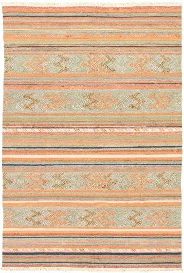 Bohemian  Transitional Blue Area rug 5x8 Turkish Flat-weave 335886