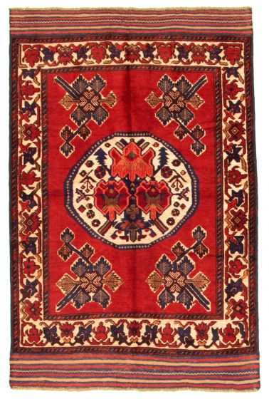 Bordered  Tribal Red Area rug 3x5 Afghan Hand-knotted 342620