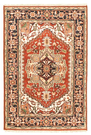 Bordered  Traditional Brown Area rug 3x5 Indian Hand-knotted 344844