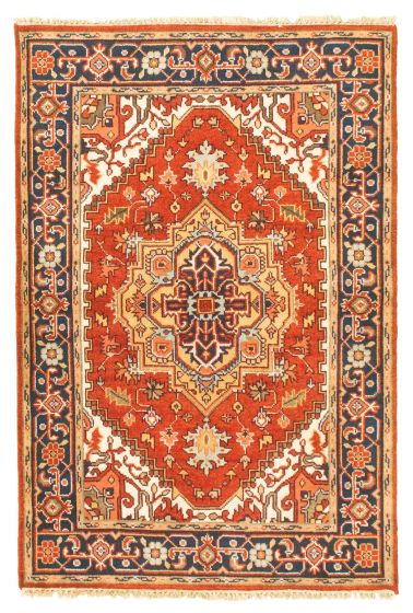 Bordered  Traditional Red Area rug 3x5 Indian Hand-knotted 344860