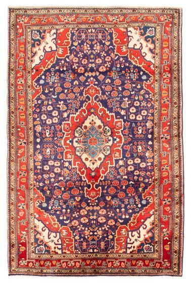 Bordered  Traditional Blue Area rug 4x6 Persian Hand-knotted 353681
