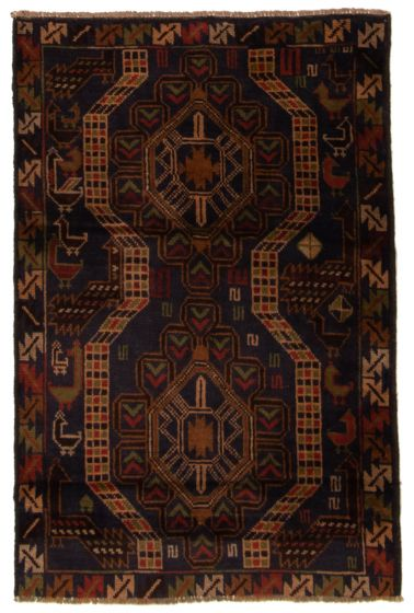 Bordered  Tribal Blue Area rug 3x5 Afghan Hand-knotted 357146
