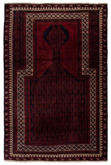 Bordered  Tribal Red Area rug 3x5 Afghan Hand-knotted 360596