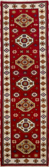 Geometric  Traditional Red Runner rug 10-ft-runner Indian Hand-knotted 233237