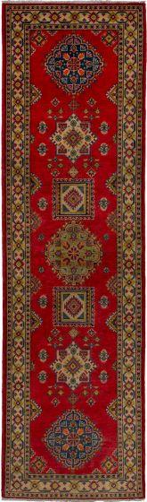 Bohemian  Geometric Red Runner rug 10-ft-runner Afghan Hand-knotted 271203