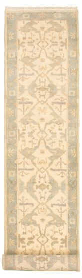 Bordered  Traditional Ivory Runner rug 14-ft-runner Indian Hand-knotted 314083