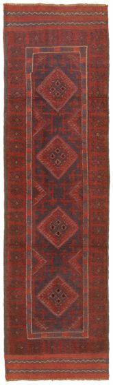 Bordered  Tribal Red Runner rug 8-ft-runner Afghan Hand-knotted 342520