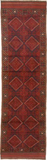 Bordered  Tribal Red Runner rug 9-ft-runner Afghan Hand-knotted 342658