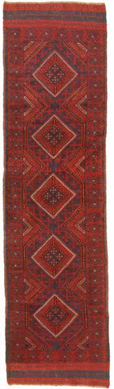 Bordered  Tribal Red Runner rug 8-ft-runner Afghan Hand-knotted 342667