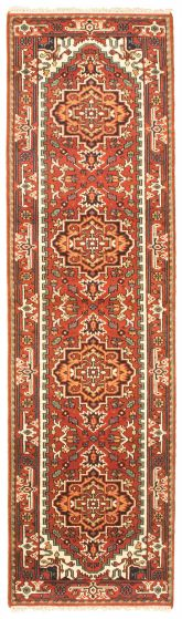 Bordered  Traditional Red Runner rug 10-ft-runner Indian Hand-knotted 344629