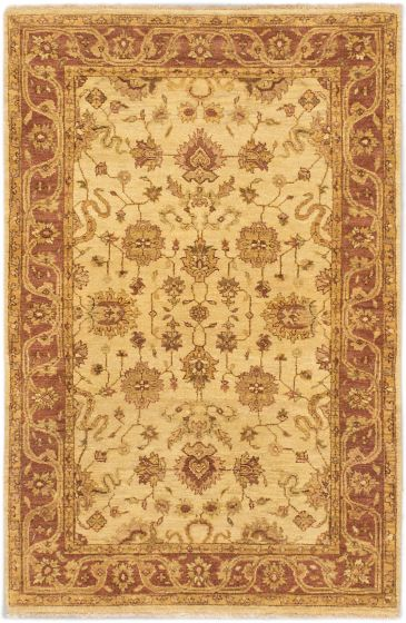 Traditional Brown Area rug 3x5 Indian Hand-knotted 164057