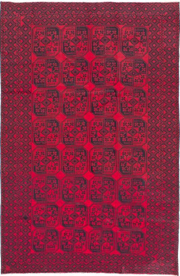 Traditional Red Area rug 6x9 Afghan Hand-knotted 213259