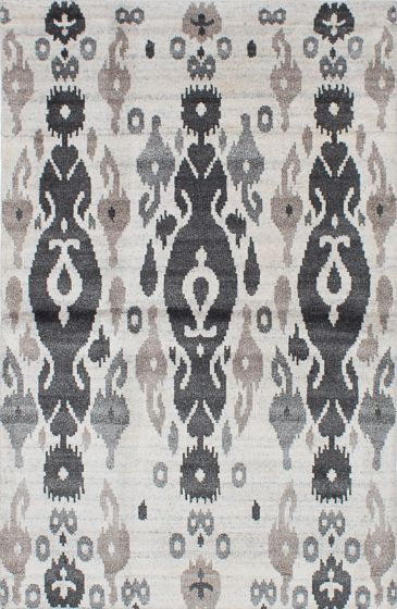 Transitional Ivory Area rug 5x8 Indian Hand-knotted 221909